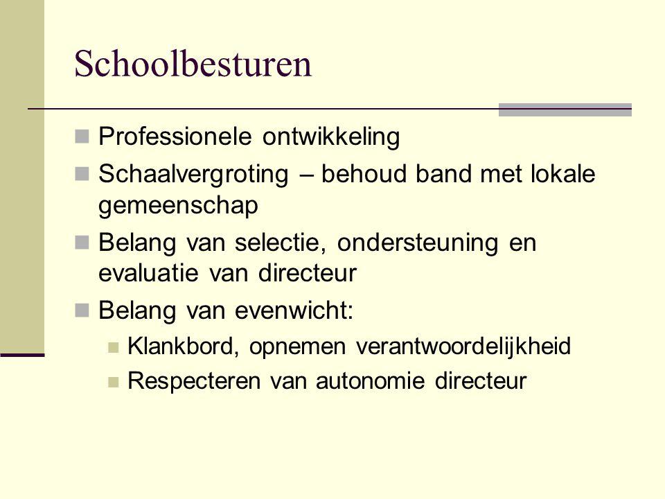 Schoolbesturen Professionele ontwikkeling Schaalvergroting – behoud band met lokale gemeenschap Belang van selectie, ondersteuning en evaluatie van di