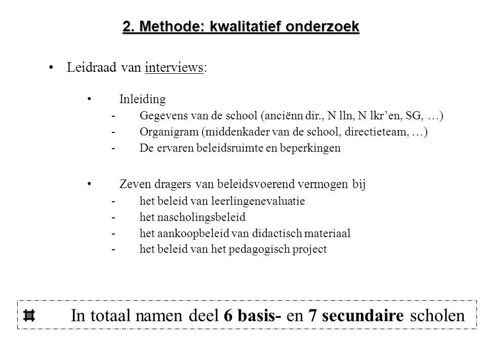 Leidraad van interviews: 2. Methode: kwalitatief onderzoek Inleiding -Gegevens van de school (anciënn dir., N lln, N lkr'en, SG, …) -Organigram (midde