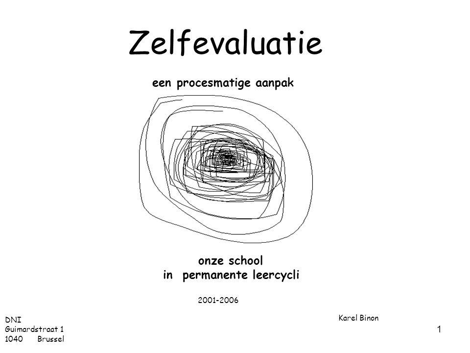 1 Zelfevaluatie een procesmatige aanpak Karel Binon onze school in permanente leercycli DNI Guimardstraat 1 1040 Brussel 2001-2006