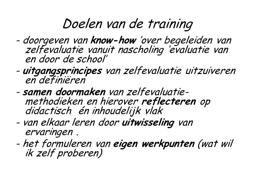Doelen van de training - doorgeven van know-how 'over begeleiden van zelfevaluatie vanuit nascholing 'evaluatie van en door de school' - uitgangsprincipes van zelfevaluatie uitzuiveren en definiëren - samen doormaken van zelfevaluatie- methodieken en hierover reflecteren op didactisch én inhoudelijk vlak - van elkaar leren door uitwisseling van ervaringen.