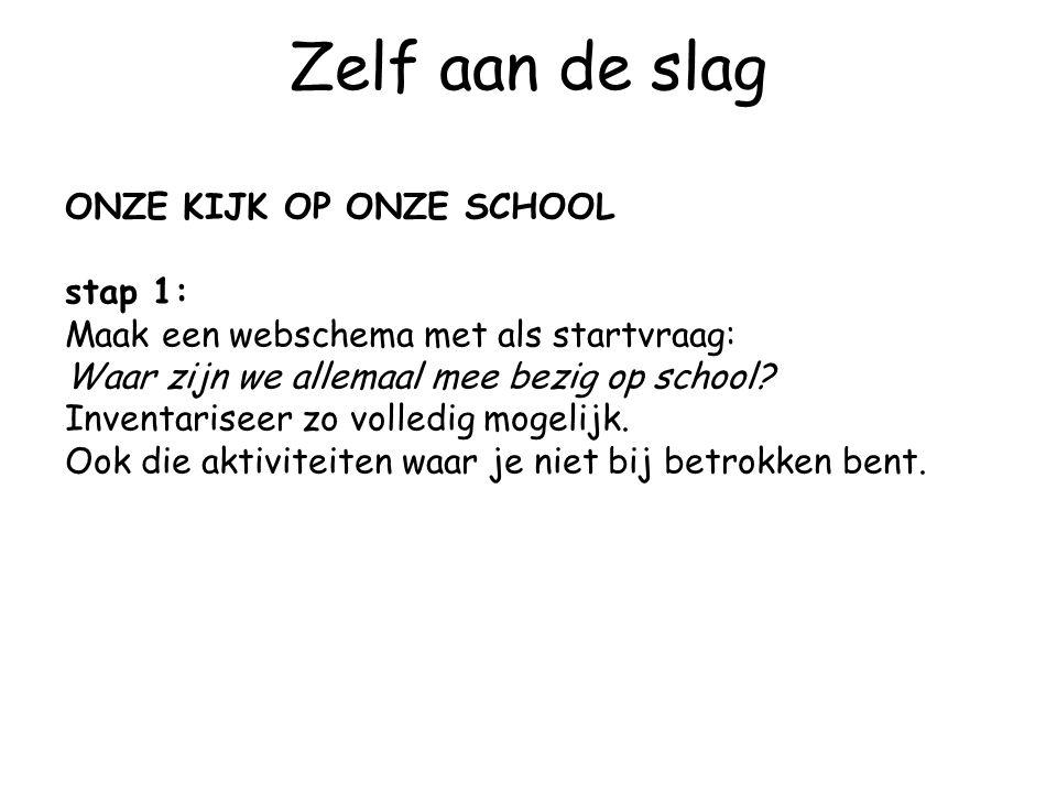 Zelf aan de slag ONZE KIJK OP ONZE SCHOOL stap 1: Maak een webschema met als startvraag: Waar zijn we allemaal mee bezig op school? Inventariseer zo v