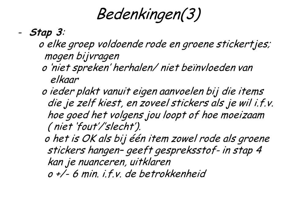 Bedenkingen(3) -Stap 3: o elke groep voldoende rode en groene stickertjes; mogen bijvragen o 'niet spreken' herhalen/ niet beïnvloeden van elkaar o ieder plakt vanuit eigen aanvoelen bij die items die je zelf kiest, en zoveel stickers als je wil i.f.v.