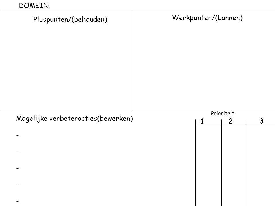 DOMEIN: Pluspunten/(behouden) Werkpunten/(bannen) Mogelijke verbeteracties(bewerken) - Prioriteit 1 2 3