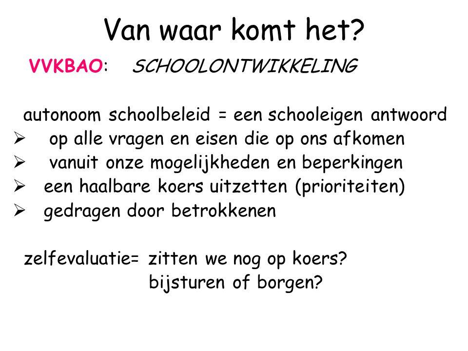 Van waar komt het? VVKBAO: SCHOOLONTWIKKELING autonoom schoolbeleid = een schooleigen antwoord  op alle vragen en eisen die op ons afkomen  vanuit o