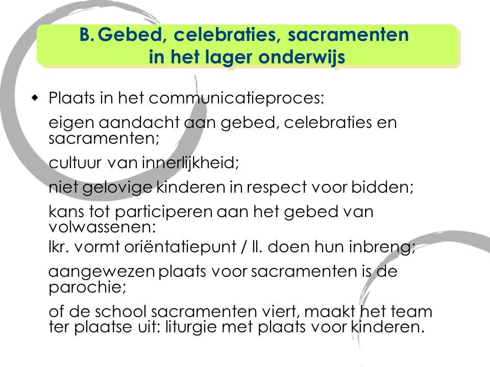  Plaats in het communicatieproces: eigen aandacht aan gebed, celebraties en sacramenten; cultuur van innerlijkheid; niet gelovige kinderen in respect