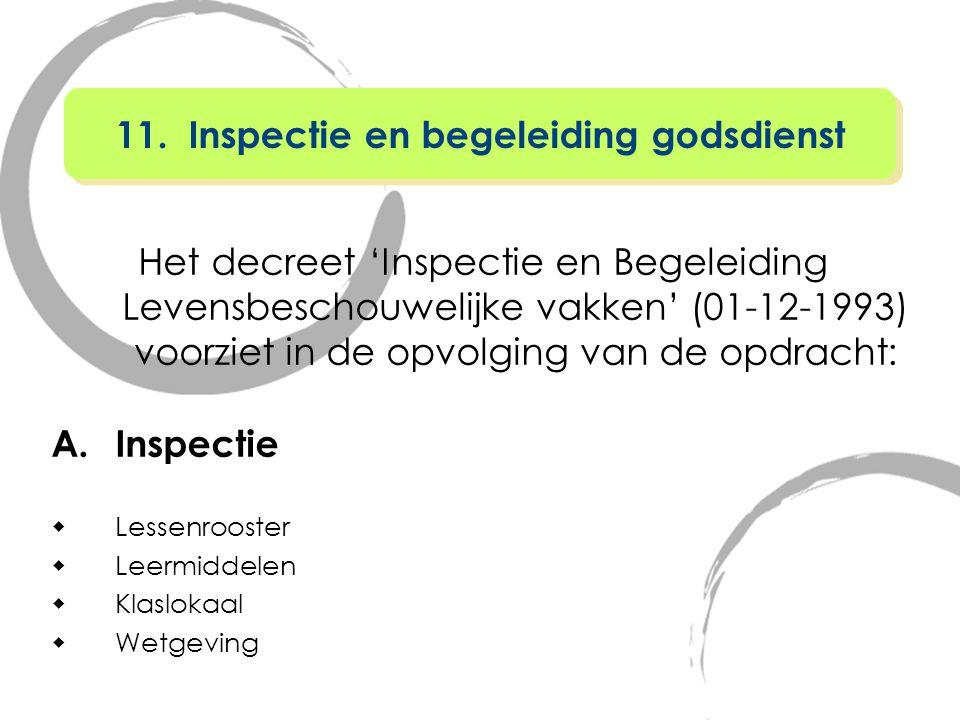 Het decreet 'Inspectie en Begeleiding Levensbeschouwelijke vakken' (01-12-1993) voorziet in de opvolging van de opdracht: A.Inspectie  Lessenrooster