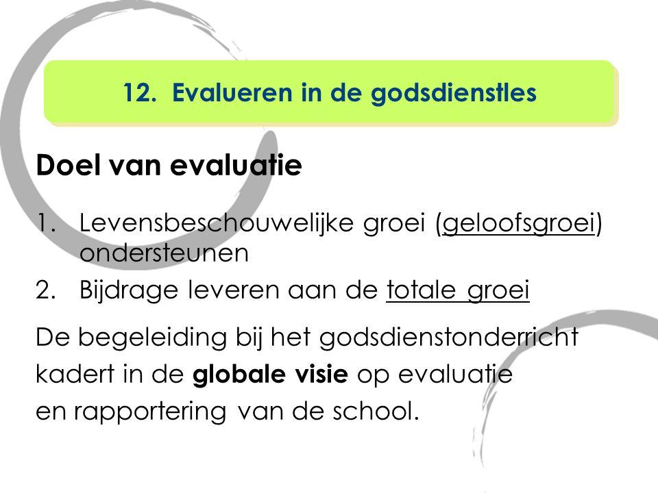 Doel van evaluatie 1.Levensbeschouwelijke groei (geloofsgroei) ondersteunen 2.Bijdrage leveren aan de totale groei De begeleiding bij het godsdienston