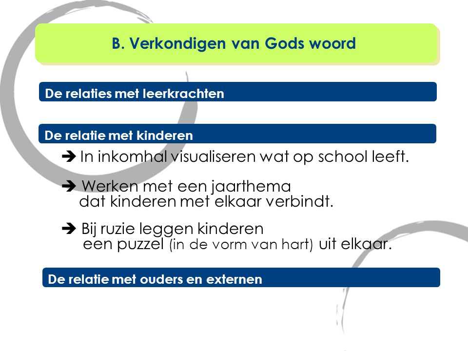 Bij het evalueren in de godsdienstles sluiten we aan bij de evaluatiecultuur in de school.