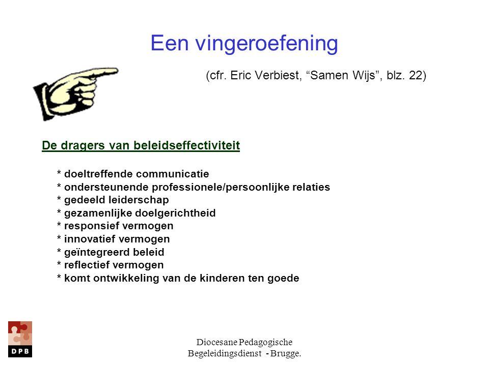 Diocesane Pedagogische Begeleidingsdienst - Brugge. De dragers van beleidseffectiviteit * doeltreffende communicatie * ondersteunende professionele/pe
