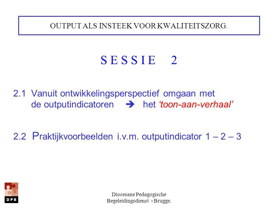 Diocesane Pedagogische Begeleidingsdienst - Brugge. OUTPUT ALS INSTEEK VOOR KWALITEITSZORG. S E S S I E 2 2.1 Vanuit ontwikkelingsperspectief omgaan m