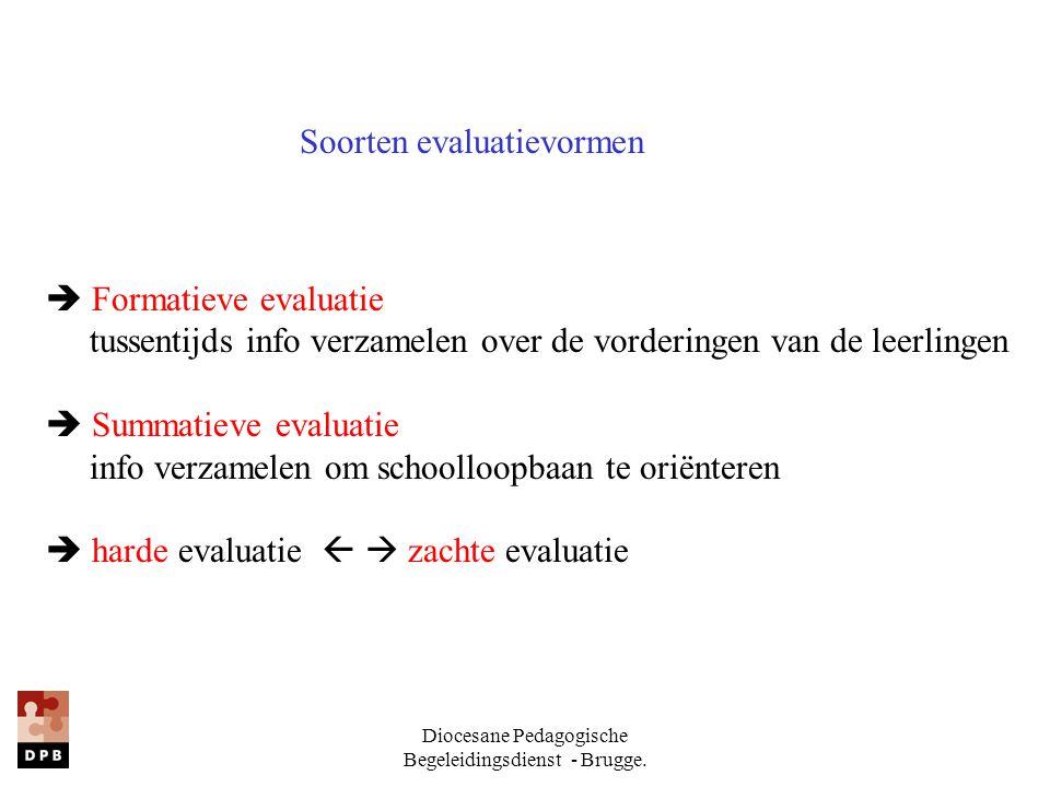 Diocesane Pedagogische Begeleidingsdienst - Brugge. Soorten evaluatievormen  Formatieve evaluatie tussentijds info verzamelen over de vorderingen van