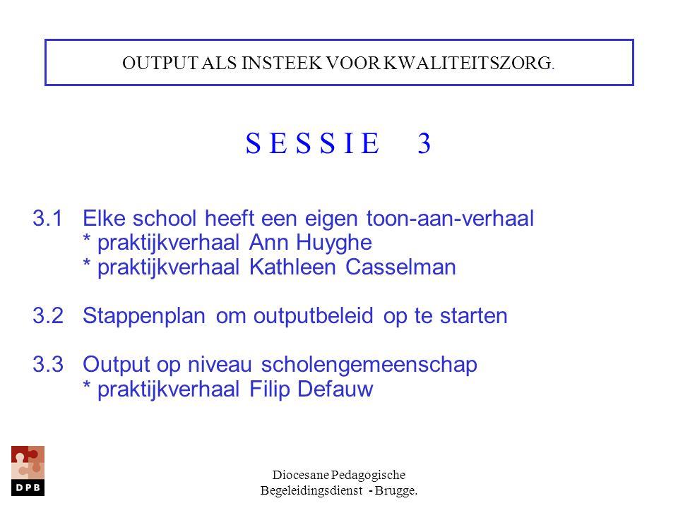 Diocesane Pedagogische Begeleidingsdienst - Brugge. OUTPUT ALS INSTEEK VOOR KWALITEITSZORG. S E S S I E 3 3.1 Elke school heeft een eigen toon-aan-ver