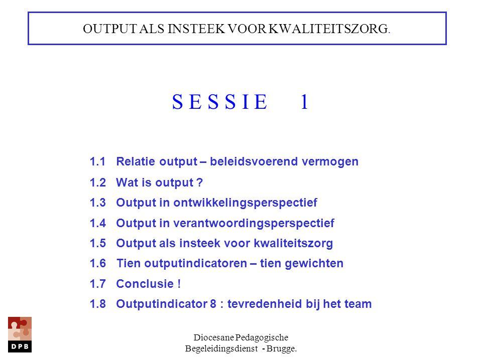 Diocesane Pedagogische Begeleidingsdienst - Brugge. OUTPUT ALS INSTEEK VOOR KWALITEITSZORG. S E S S I E 1 1.1 Relatie output – beleidsvoerend vermogen