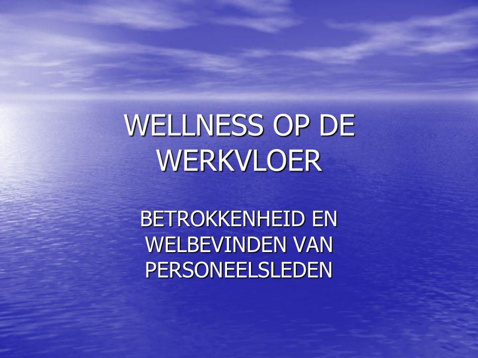 WELLNESS OP DE WERKVLOER BETROKKENHEID EN WELBEVINDEN VAN PERSONEELSLEDEN