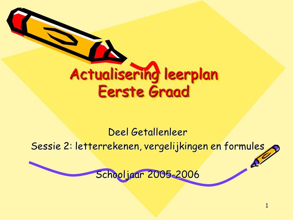 1 Actualisering leerplan Eerste Graad Deel Getallenleer Sessie 2: letterrekenen, vergelijkingen en formules Schooljaar 2005-2006