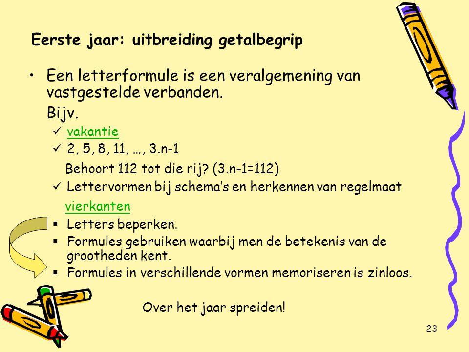 23 Eerste jaar: uitbreiding getalbegrip Een letterformule is een veralgemening van vastgestelde verbanden.