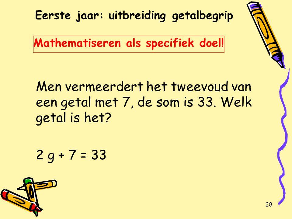 28 Eerste jaar: uitbreiding getalbegrip Mathematiseren als specifiek doel.