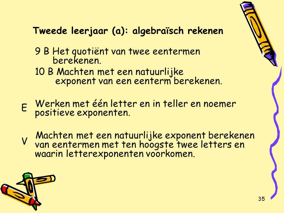 35 Tweede leerjaar (a): algebraïsch rekenen 9 B Het quotiënt van twee eentermen berekenen.
