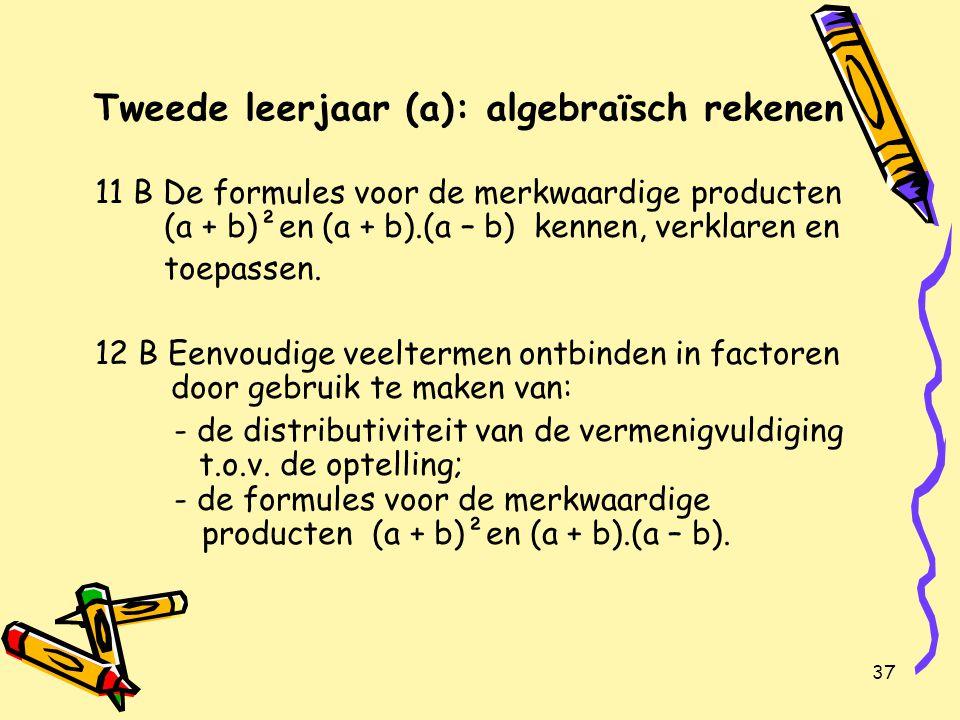 37 Tweede leerjaar (a): algebraïsch rekenen 11 B De formules voor de merkwaardige producten (a + b)²en (a + b).(a – b) kennen, verklaren en toepassen.