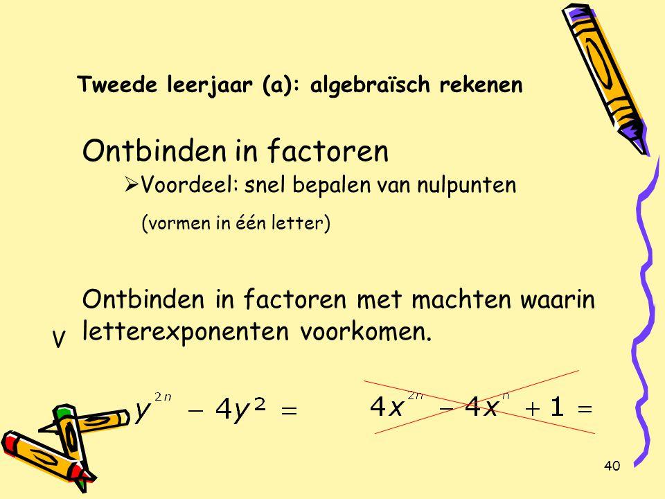 40 Tweede leerjaar (a): algebraïsch rekenen Ontbinden in factoren  Voordeel: snel bepalen van nulpunten (vormen in één letter) Ontbinden in factoren met machten waarin letterexponenten voorkomen.