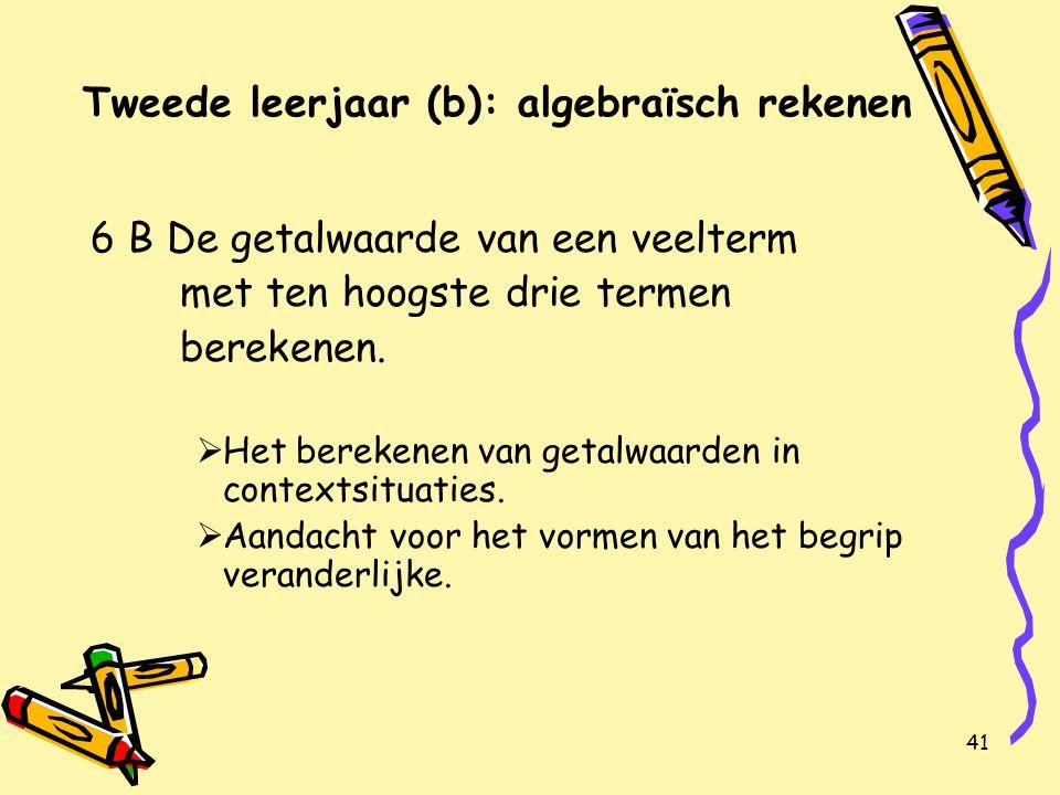 41 Tweede leerjaar (b): algebraïsch rekenen 6 B De getalwaarde van een veelterm met ten hoogste drie termen berekenen.
