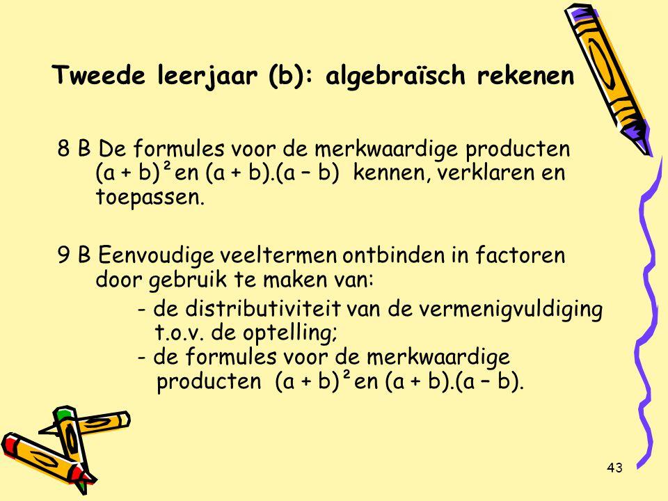 43 Tweede leerjaar (b): algebraïsch rekenen 8 B De formules voor de merkwaardige producten (a + b)²en (a + b).(a – b) kennen, verklaren en toepassen.