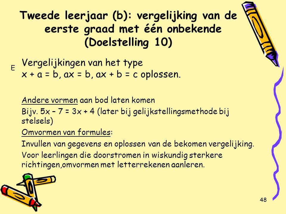 48 Tweede leerjaar (b): vergelijking van de eerste graad met één onbekende (Doelstelling 10) Vergelijkingen van het type x + a = b, ax = b, ax + b = c oplossen.