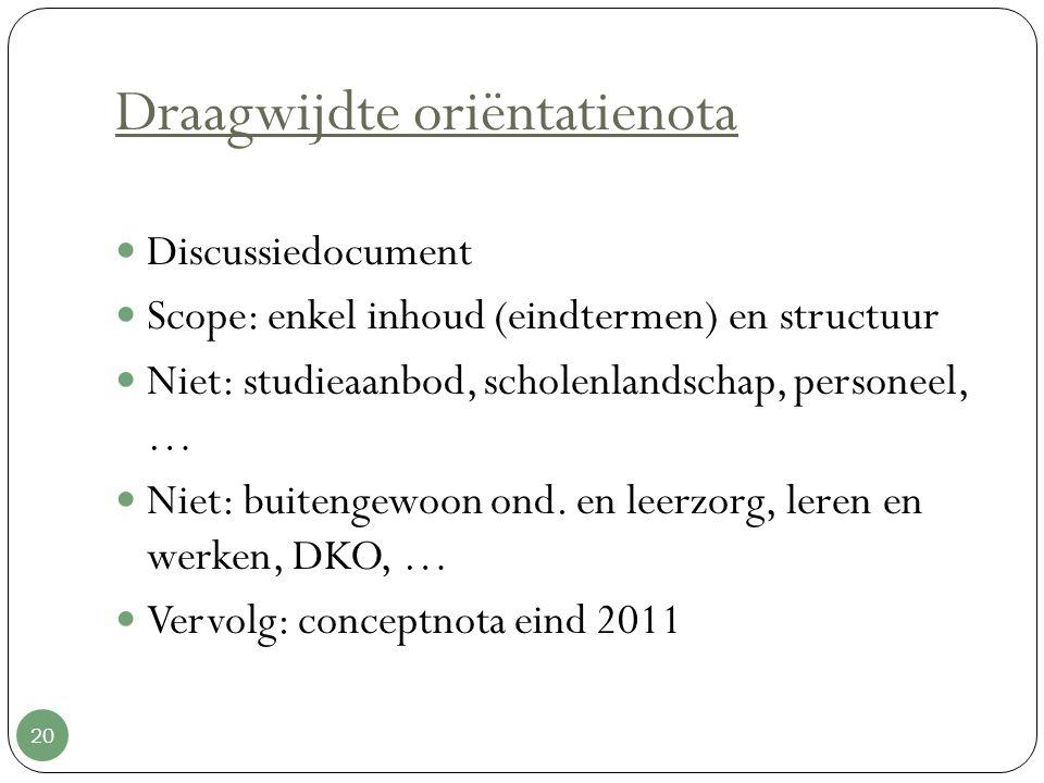 Draagwijdte oriëntatienota 20 Discussiedocument Scope: enkel inhoud (eindtermen) en structuur Niet: studieaanbod, scholenlandschap, personeel, … Niet: