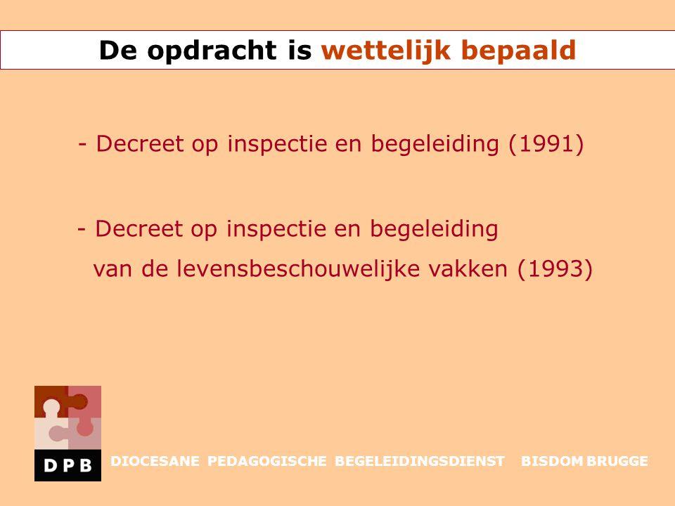 Decreet op inspectie en begeleiding (1991) taak onderwijsinspectie: Controleren van onderwijskwaliteit - van alle scholen - alle onderwijsnetten door geregelde schooldoorlichtingen INSPECTIE DIOCESANE PEDAGOGISCHE BEGELEIDINGSDIENST BISDOM BRUGGE