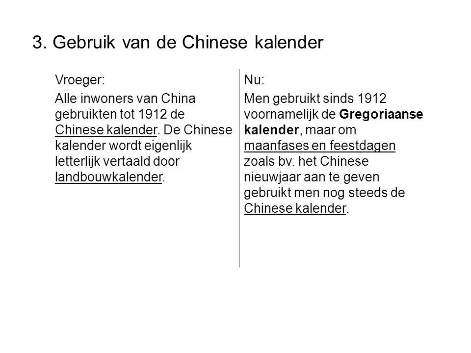 3. Gebruik van de Chinese kalender Vroeger: Alle inwoners van China gebruikten tot 1912 de Chinese kalender. De Chinese kalender wordt eigenlijk lette