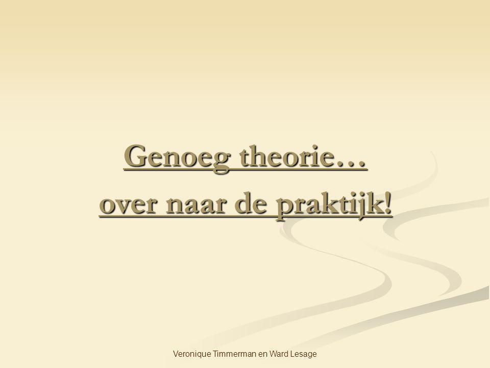 Veronique Timmerman en Ward Lesage Genoeg theorie… over naar de praktijk!