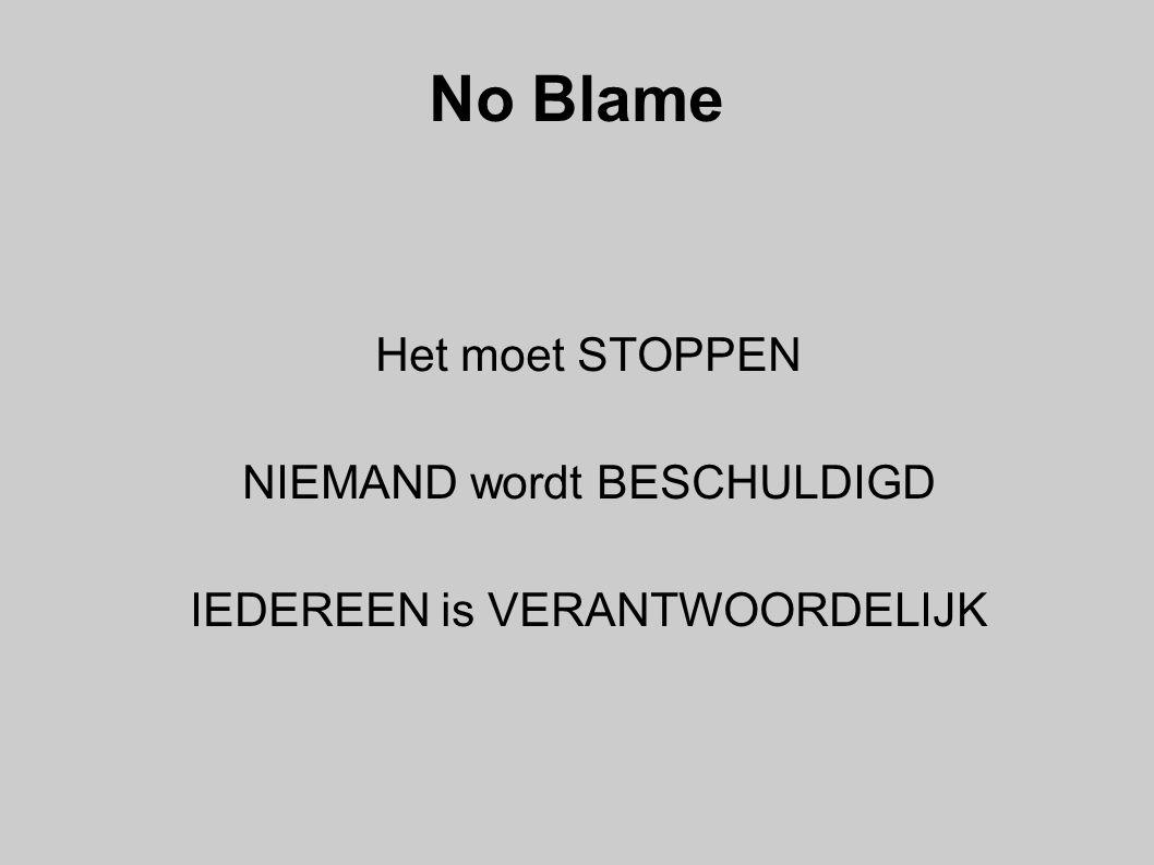 No Blame Het moet STOPPEN NIEMAND wordt BESCHULDIGD IEDEREEN is VERANTWOORDELIJK
