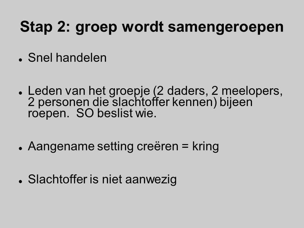 Stap 2: groep wordt samengeroepen Snel handelen Leden van het groepje (2 daders, 2 meelopers, 2 personen die slachtoffer kennen) bijeen roepen. SO bes