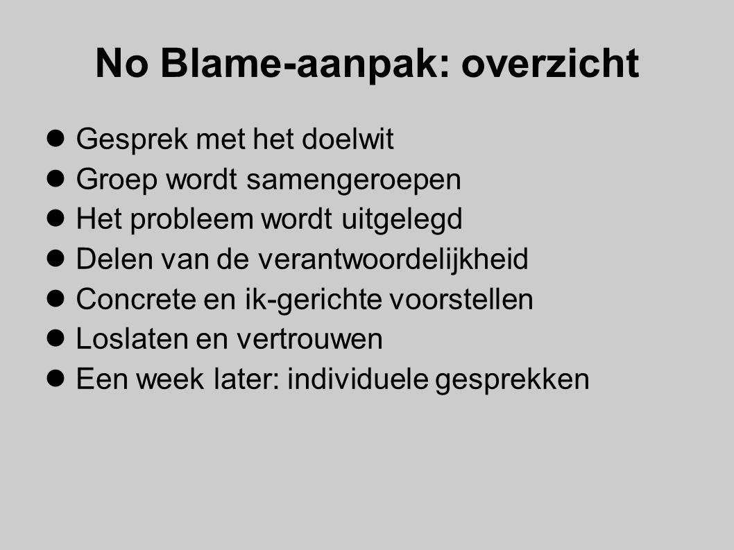 No Blame-aanpak: overzicht Gesprek met het doelwit Groep wordt samengeroepen Het probleem wordt uitgelegd Delen van de verantwoordelijkheid Concrete e