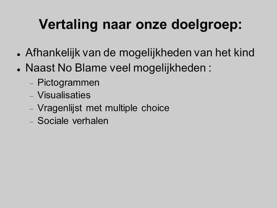 Vertaling naar onze doelgroep: Afhankelijk van de mogelijkheden van het kind Naast No Blame veel mogelijkheden :  Pictogrammen  Visualisaties  Vrag