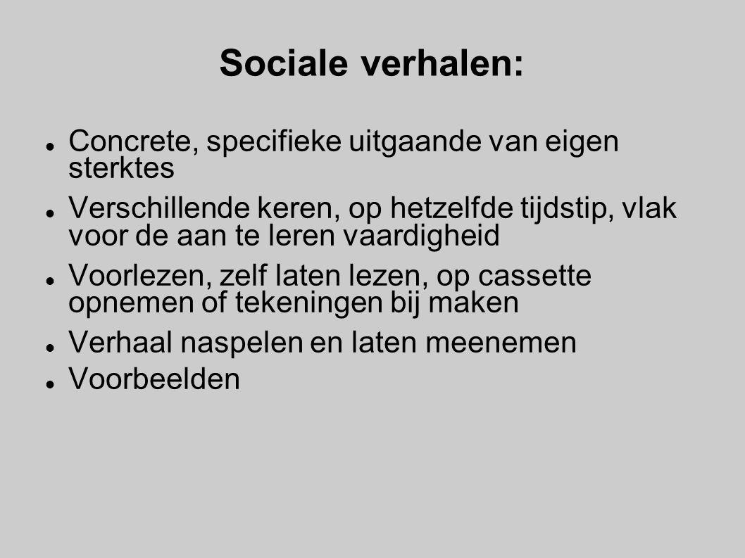 Sociale verhalen: Concrete, specifieke uitgaande van eigen sterktes Verschillende keren, op hetzelfde tijdstip, vlak voor de aan te leren vaardigheid