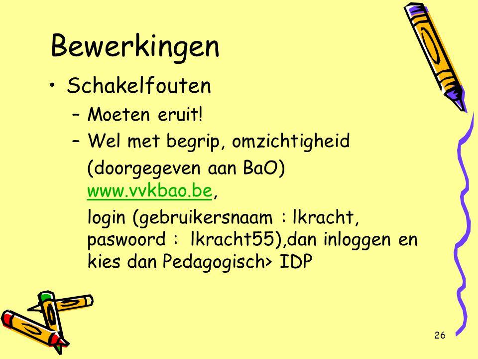 26 Bewerkingen Schakelfouten –Moeten eruit! –Wel met begrip, omzichtigheid (doorgegeven aan BaO) www.vvkbao.be, www.vvkbao.be login (gebruikersnaam :