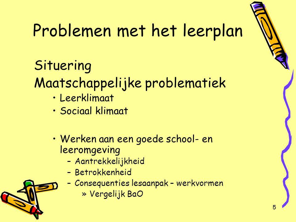 5 Problemen met het leerplan Situering Maatschappelijke problematiek Leerklimaat Sociaal klimaat Werken aan een goede school- en leeromgeving –Aantrek