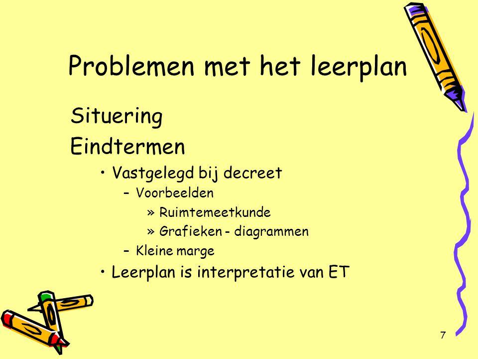 7 Problemen met het leerplan Situering Eindtermen Vastgelegd bij decreet –Voorbeelden »Ruimtemeetkunde »Grafieken - diagrammen –Kleine marge Leerplan