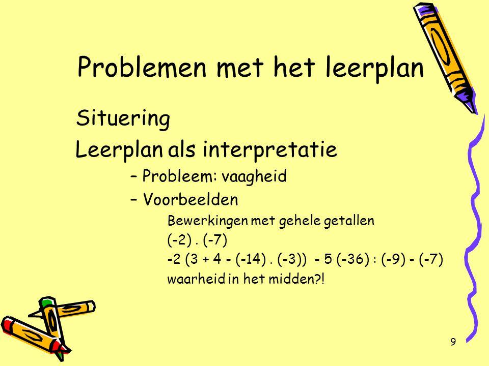9 Problemen met het leerplan Situering Leerplan als interpretatie –Probleem: vaagheid –Voorbeelden Bewerkingen met gehele getallen (-2). (-7) -2 (3 +