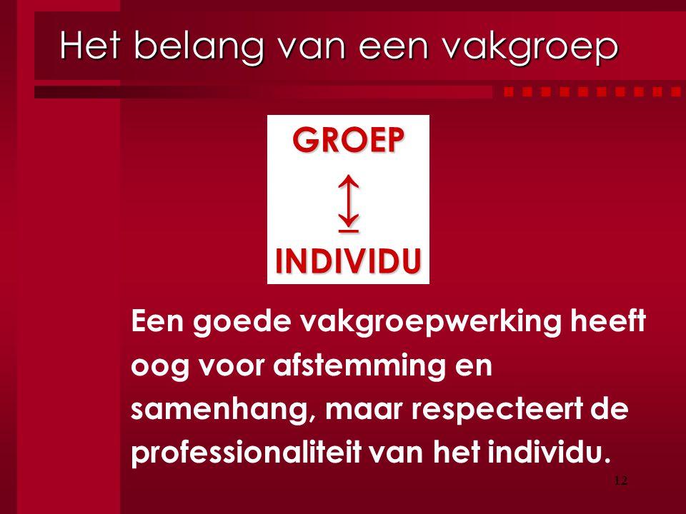 12 Het belang van een vakgroep Een goede vakgroepwerking heeft oog voor afstemming en samenhang, maar respecteert de professionaliteit van het individ