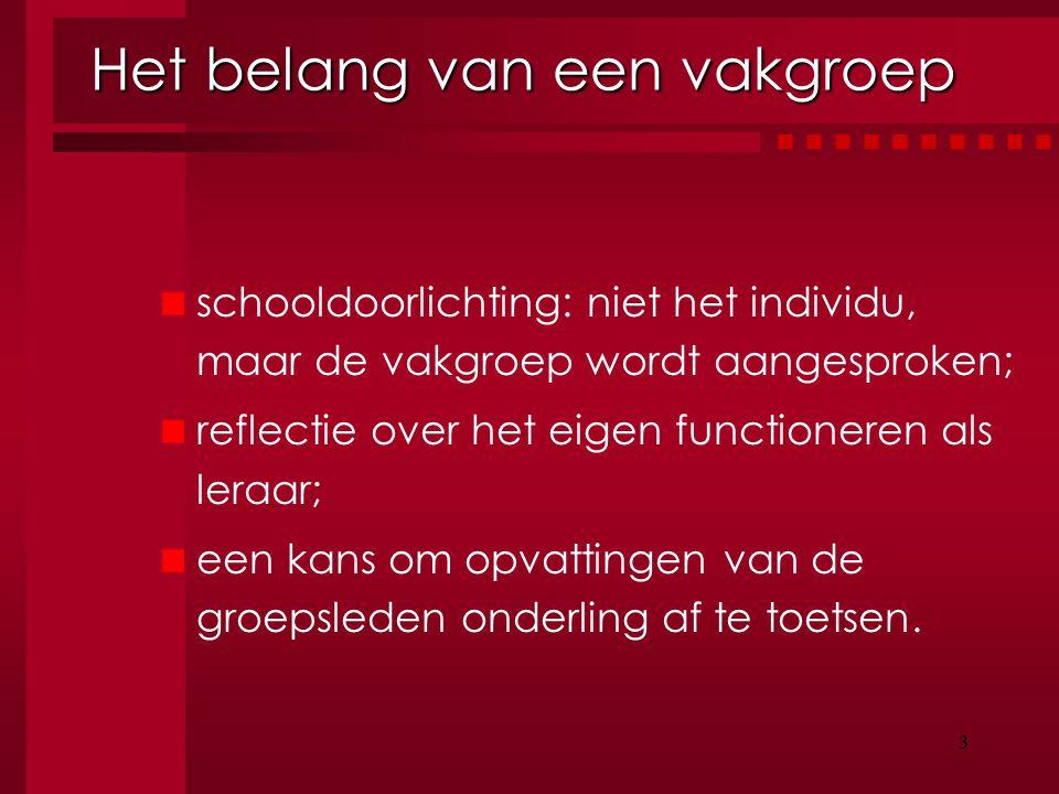 3 Het belang van een vakgroep schooldoorlichting: niet het individu, maar de vakgroep wordt aangesproken; reflectie over het eigen functioneren als le