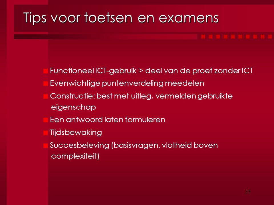 35 Tips voor toetsen en examens Functioneel ICT-gebruik > deel van de proef zonder ICT Evenwichtige puntenverdeling meedelen Constructie: best met uit