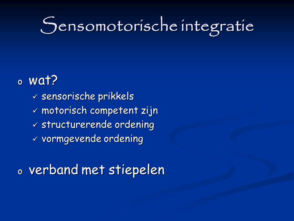 Sensomotorische integratie o wat? sensorische prikkels sensorische prikkels motorisch competent zijn motorisch competent zijn structurerende ordening