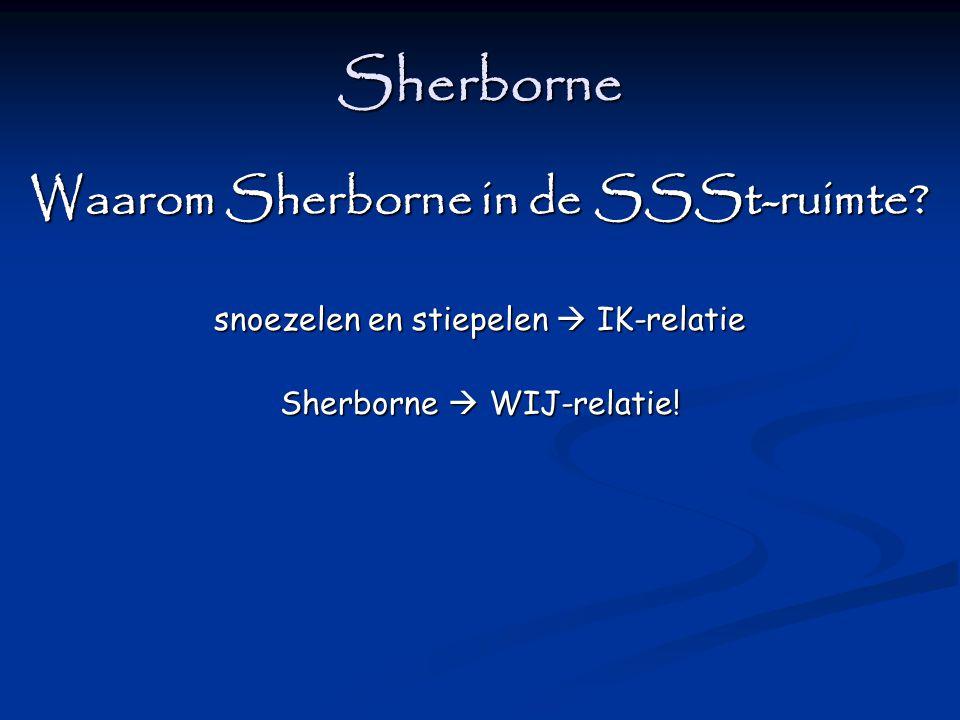 Sherborne Waarom Sherborne in de SSSt-ruimte? snoezelen en stiepelen  IK-relatie Sherborne  WIJ-relatie!