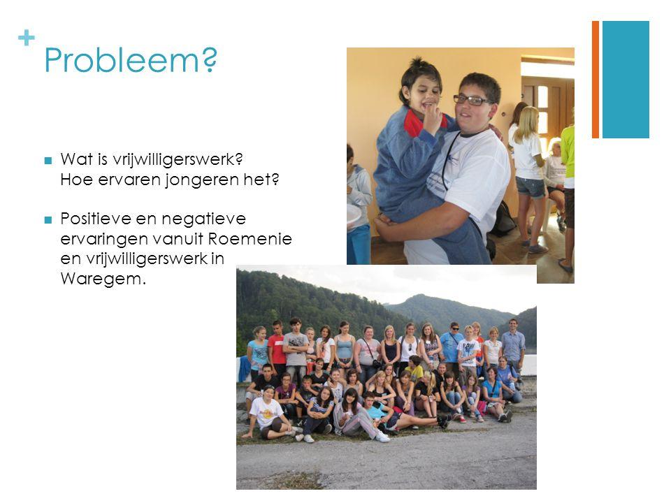 + Probleem.Wat is vrijwilligerswerk. Hoe ervaren jongeren het.