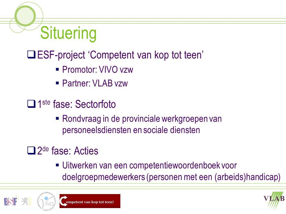 Situering  ESF-project 'Competent van kop tot teen'  Promotor: VIVO vzw  Partner: VLAB vzw  1 ste fase: Sectorfoto  Rondvraag in de provinciale w