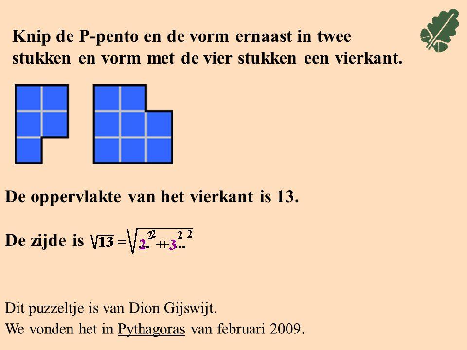 Knip de P-pento en de vorm ernaast in twee stukken en vorm met de vier stukken een vierkant.