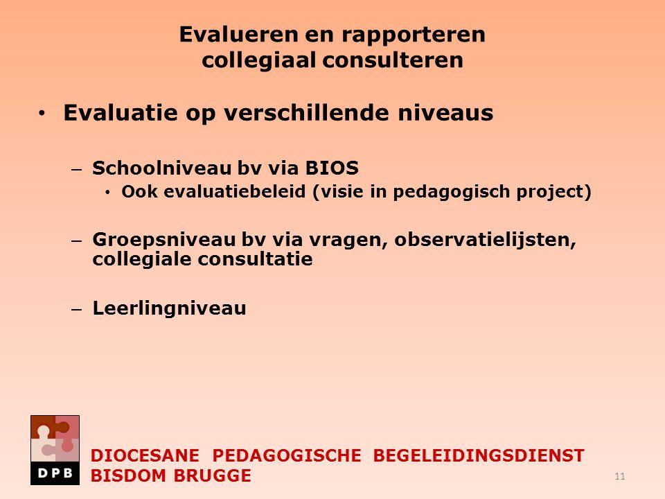 Evalueren en rapporteren collegiaal consulteren Evaluatie op verschillende niveaus – Schoolniveau bv via BIOS Ook evaluatiebeleid (visie in pedagogisc