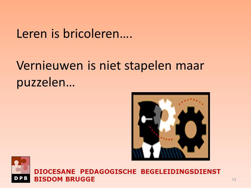 Leren is bricoleren…. Vernieuwen is niet stapelen maar puzzelen… DIOCESANE PEDAGOGISCHE BEGELEIDINGSDIENST BISDOM BRUGGE 14